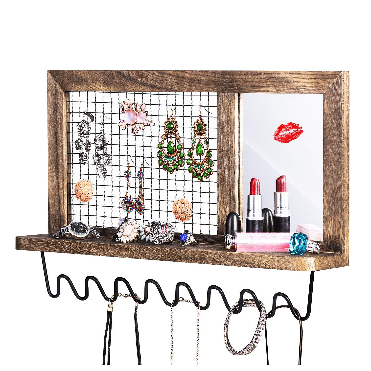 Jewelry Organizer, SRIWATANA Wall Mount Metal Wood Jewelry Holder, Necklace, Earrings, Rings, Lipstick Holder Organizer with Makeup Mirror