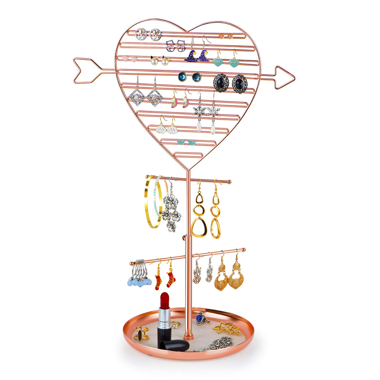 "SRIWATANA Jewelry Holder Organizer, Earring Holder Tree, Metal Earring Organizer with Cupid""s Arrow Design (Rose Gold)"