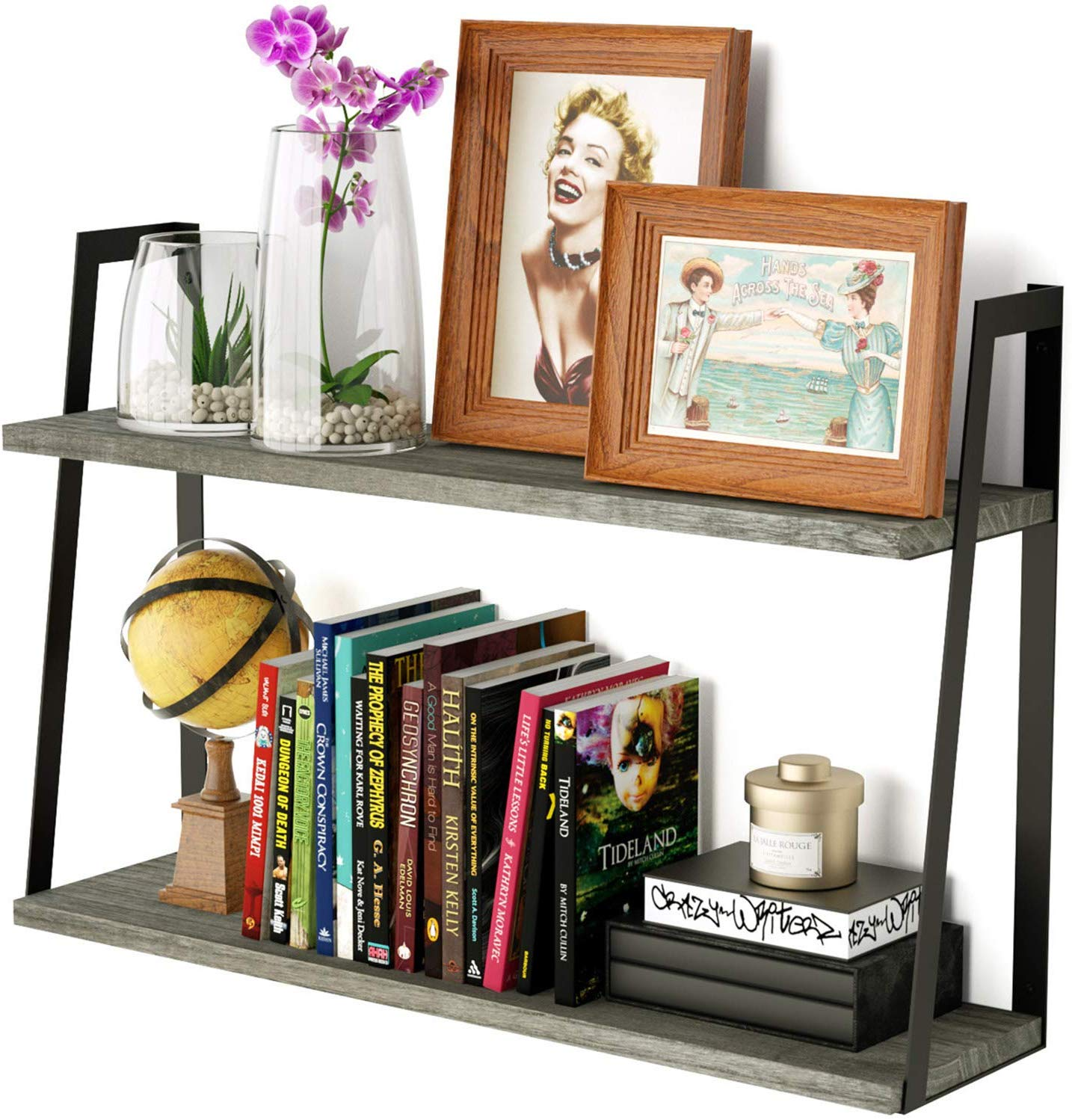 Floating Wall Shelves, 2-Tier Rustic Wood Shelves for Bedoom, Bathroom, Living Room, Kitchen (Weathered Grey)
