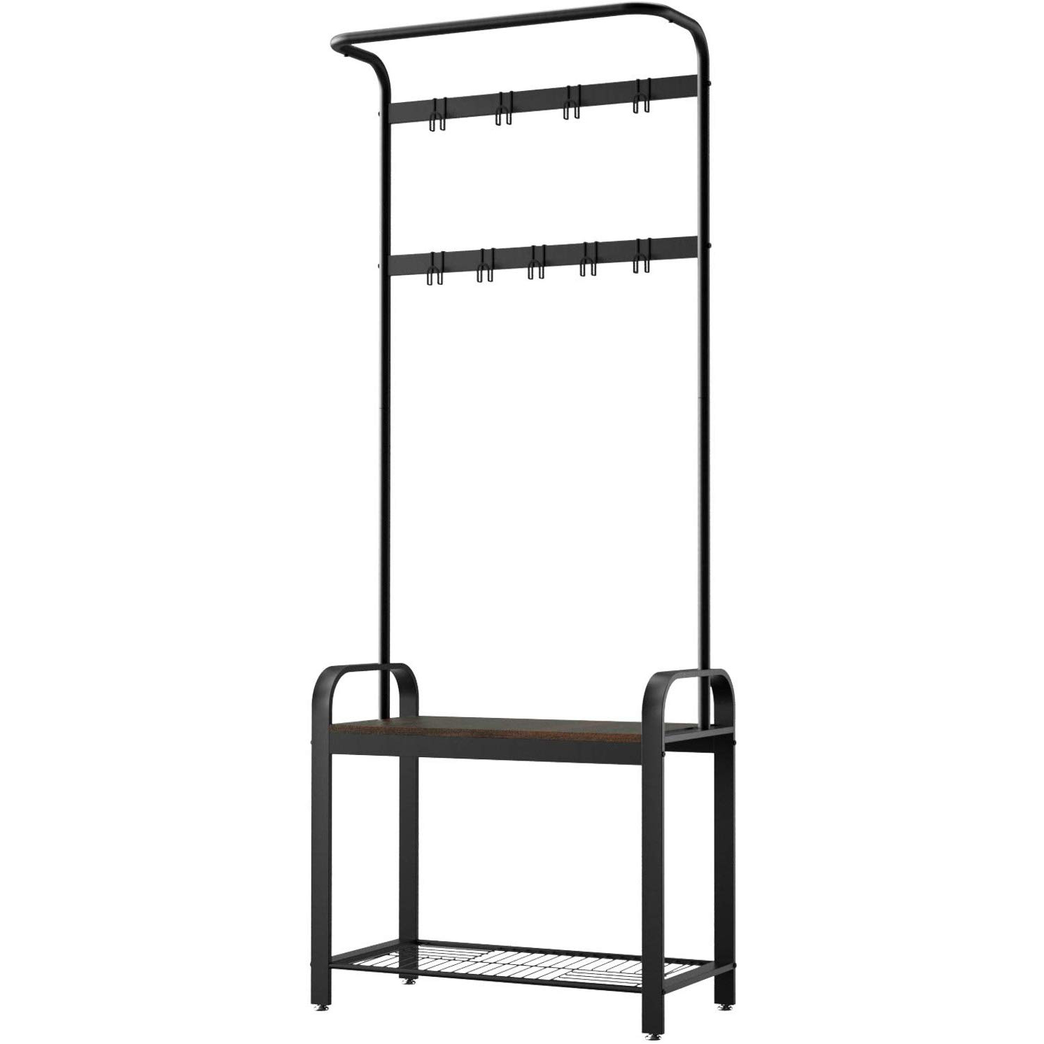 SRIWATANA Hall Tree with 9 Removable Hooks, Coat Rack Shoe Bench, Coat Stand Entryway Organizer, Walnut & Black Finish