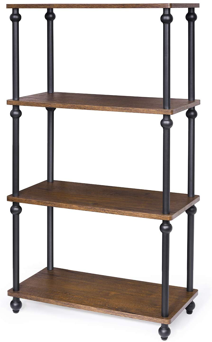 Industrial Bookshelf, 4-Tier Multipurpose Storage Rack Shelves for Living Room, Bedroom, Kitchen, Dark Walnut